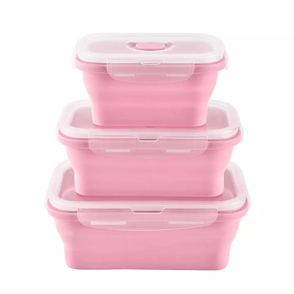4 Piece Collapsible Container Set - Pink - Go Go Kitchen Gadgets