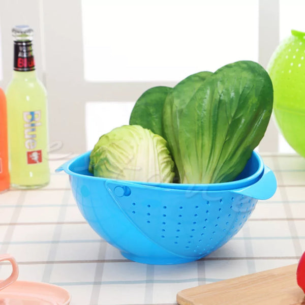 Wash and Drain Produce Bowl - Turquoise - Go Go Kitchen Gadgets