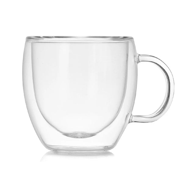 Glass 6 oz. Double Wall Coffee Cup - Clear - Go Go Kitchen Gadgets