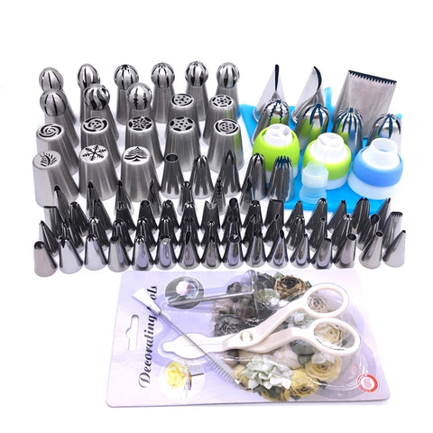 77 Piece Piping Tip Decorating Set - For Cakes Cupcakes Cookies and Other Baked Treats - Go Go Kitchen Gadgets