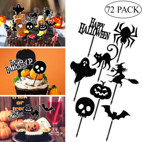 Halloween Cupcake Toppers - 8 Styles 72 Piece Pack - Go Go Kitchen Gadgets
