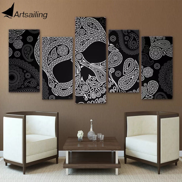 "5 Panel Framed Canvas - 32"" Skull - Go Go Kitchen Gadgets"