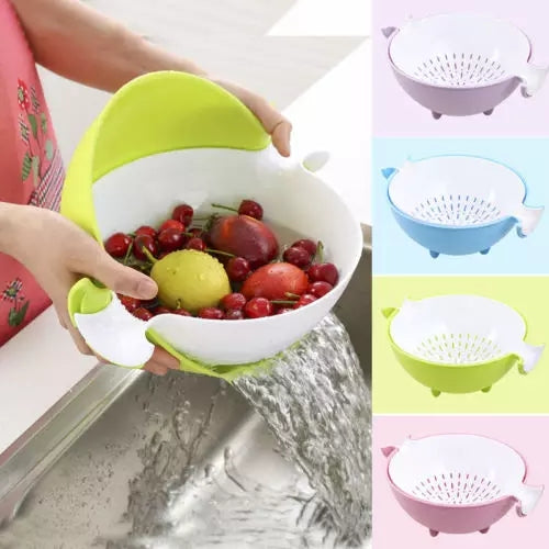 Flip Strainer Bowl - Green - Go Go Kitchen Gadgets