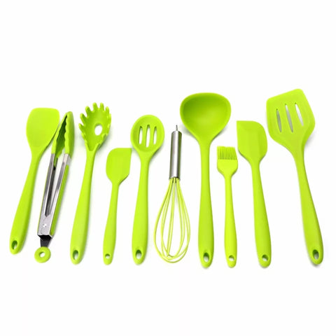 10 Piece Essential Kitchen Utensil Set - Green - Go Go Kitchen Gadgets