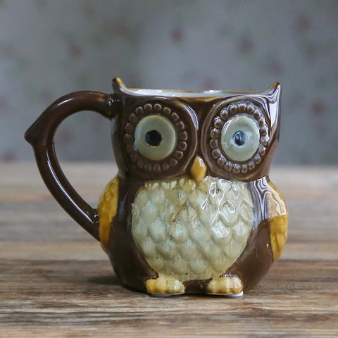 Country Ceramic 10 oz Owl Coffee Mug - Brown - Go Go Kitchen Gadgets