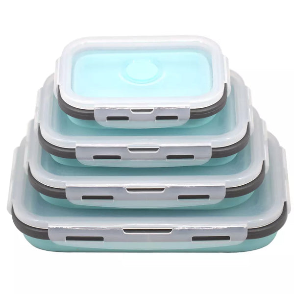 4 Piece Collapsible Container Set - Light Blue - Go Go Kitchen Gadgets