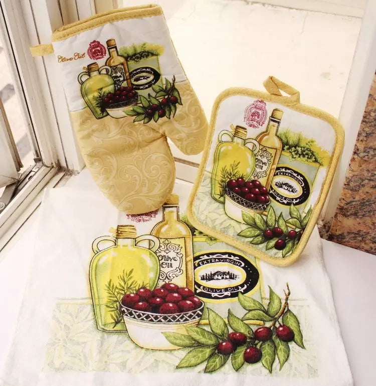 Mediterranean Kitchen Towel Set - Go Go Kitchen Gadgets