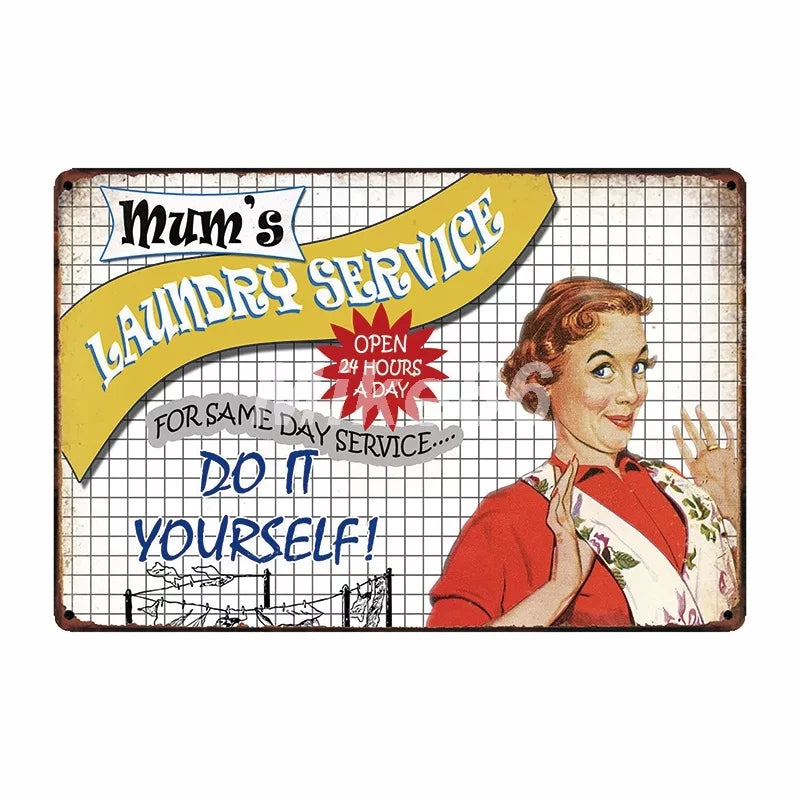Mom's Laundry Service Metal Sign - Go Go Kitchen Gadgets