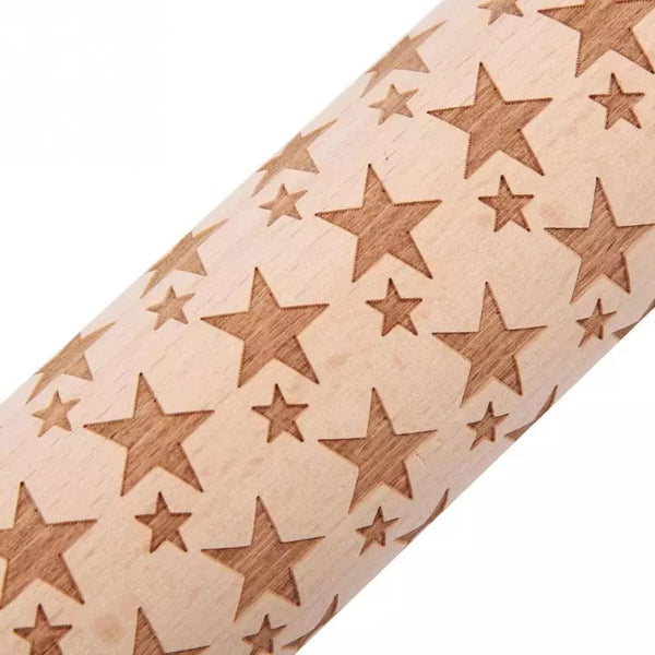Embossing Wood Rolling Pin - Stars - Go Go Kitchen Gadgets