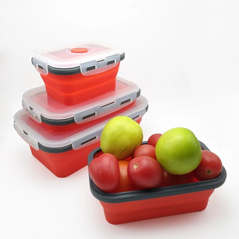4 Piece Collapsible Container Set - Ruby Red - Go Go Kitchen Gadgets