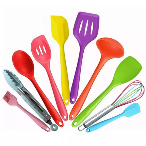 10 Piece Essential Kitchen Utensil Set - Multi-Colored - Go Go Kitchen Gadgets