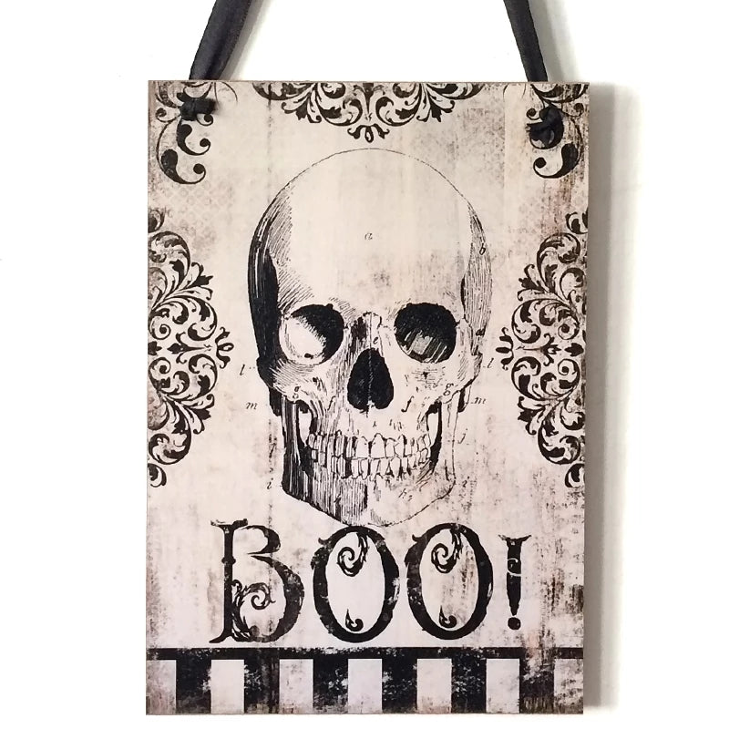 Hanging Halloween Decor - BOO! Skull Sign - Go Go Kitchen Gadgets
