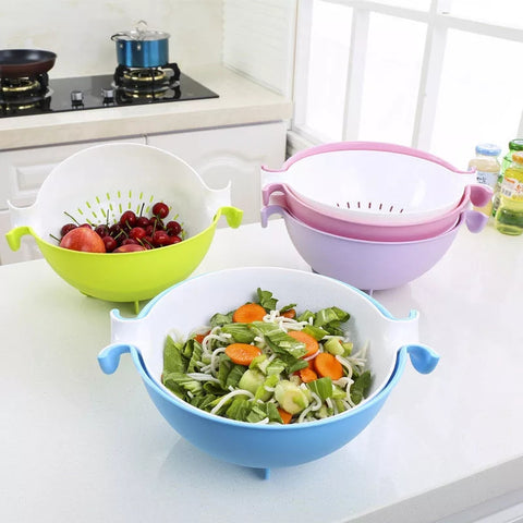 Flip Strainer Bowl - Blue - Go Go Kitchen Gadgets