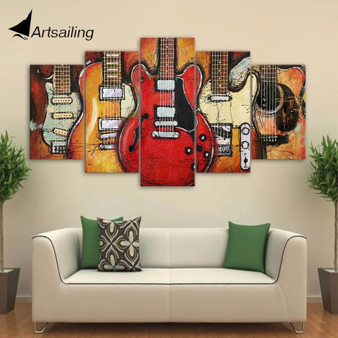 "5 Panel Framed Canvas - 32"" Guitars And Music - Go Go Kitchen Gadgets"