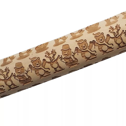 Embossing Wood Rolling Pin -Bears and  Reindeer - Go Go Kitchen Gadgets