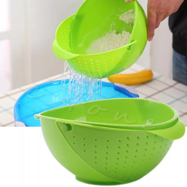 Wash and Drain Produce Bowl - Bright Green - Go Go Kitchen Gadgets