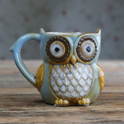 Country Ceramic 10 oz Owl Coffee Mug - Blue - Go Go Kitchen Gadgets