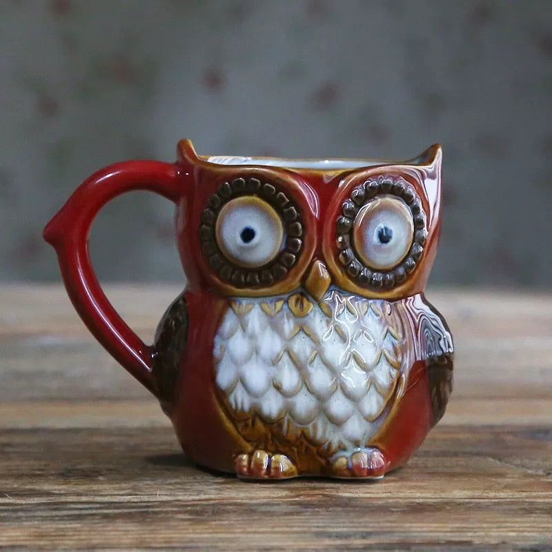 Country Ceramic 10 oz Owl Coffee Mug - Red - Go Go Kitchen Gadgets