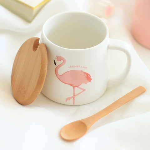 Ceramic 12 oz Coffee Mug with Lid - Flamingo - Go Go Kitchen Gadgets
