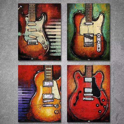 "4 Piece Framed Canvas Print Set - 24"" x 36"" Guitars and Music - Go Go Kitchen Gadgets"