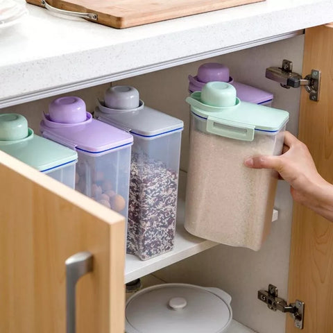 Pour Cap Storage Containers - Gray - Great For Cereals Rice and Grains - Go Go Kitchen Gadgets