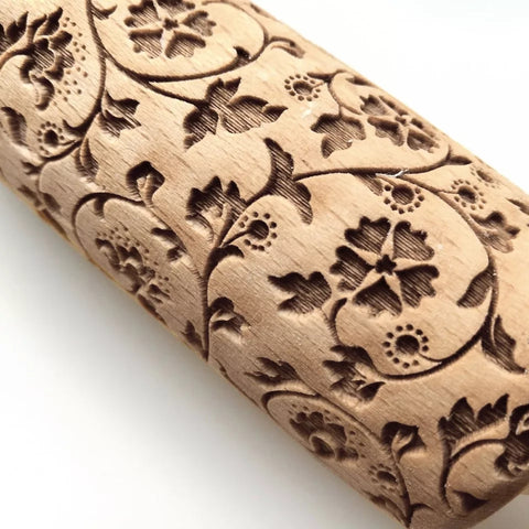 Embossing Wood Rolling Pin - Flower Garden - Go Go Kitchen Gadgets