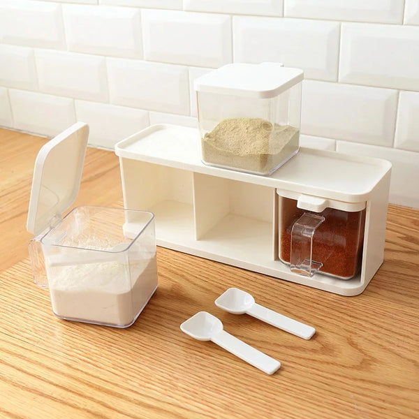 Stackable Shelf with 3 Spice Containers - Go Go Kitchen Gadgets