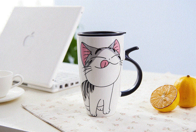 Ceramic 20 oz Coffee Cup - Hungry Kitty - Go Go Kitchen Gadgets