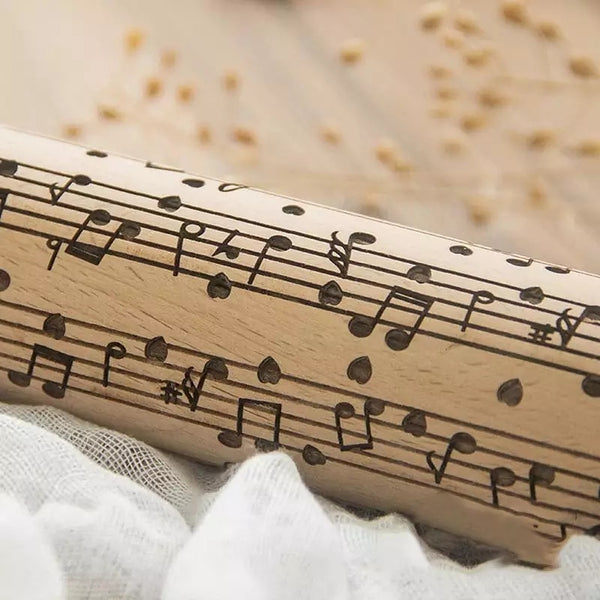 Embossing Wood Rolling Pin - I ❤ Music - Go Go Kitchen Gadgets