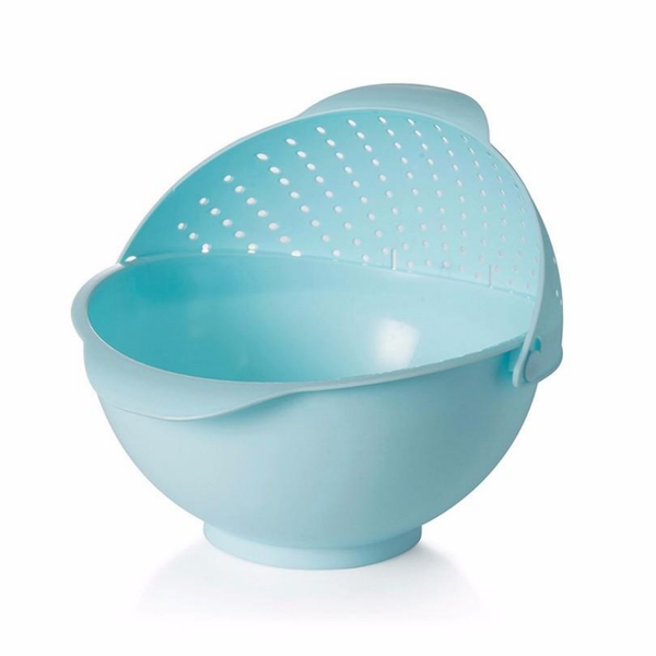 Wash and Drain Produce Bowl - Blue - Go Go Kitchen Gadgets