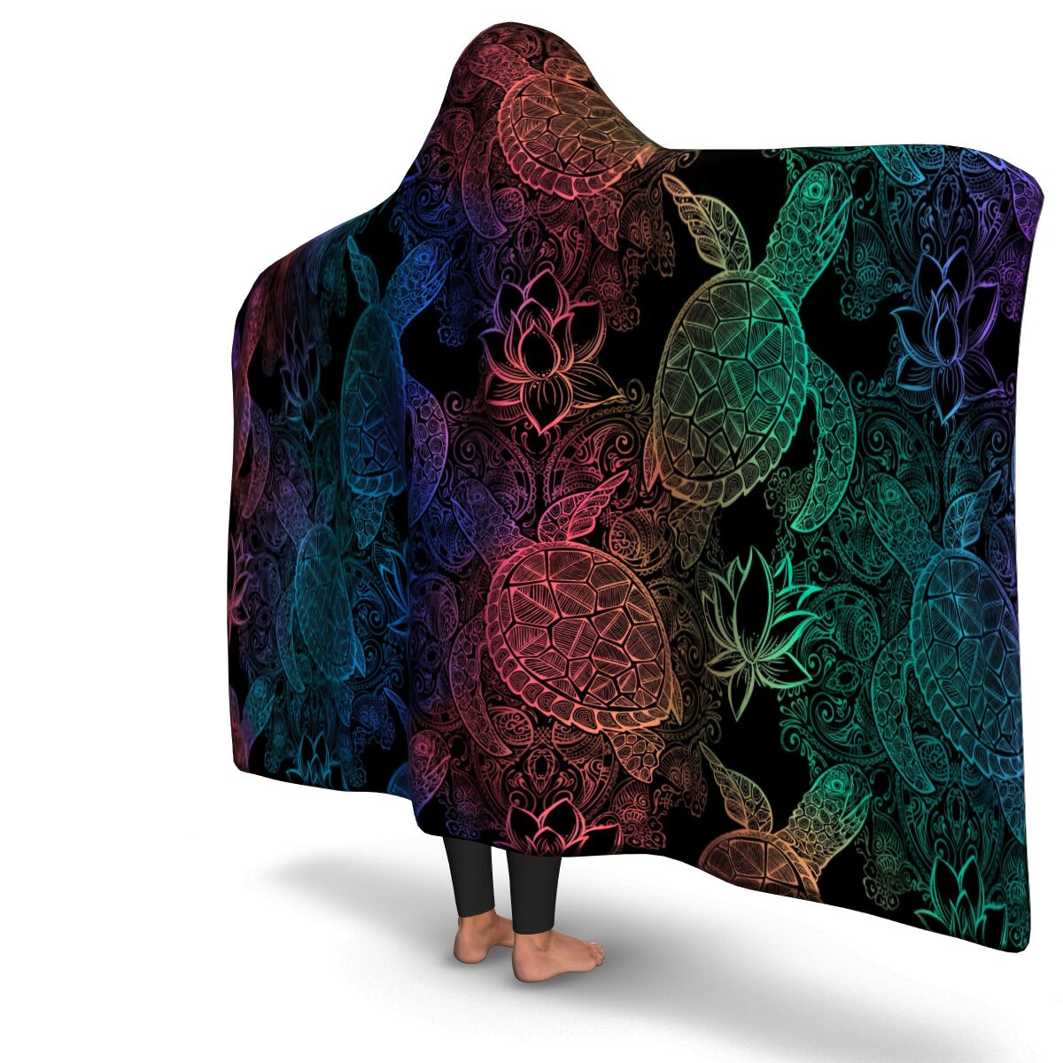Rainbow Turtle Hooded Blanket
