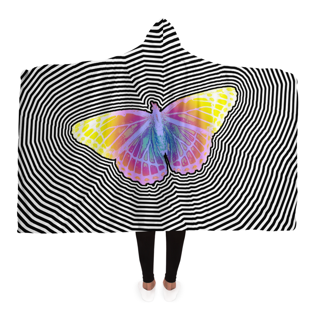 Trippy Butterfly Hooded Blanket