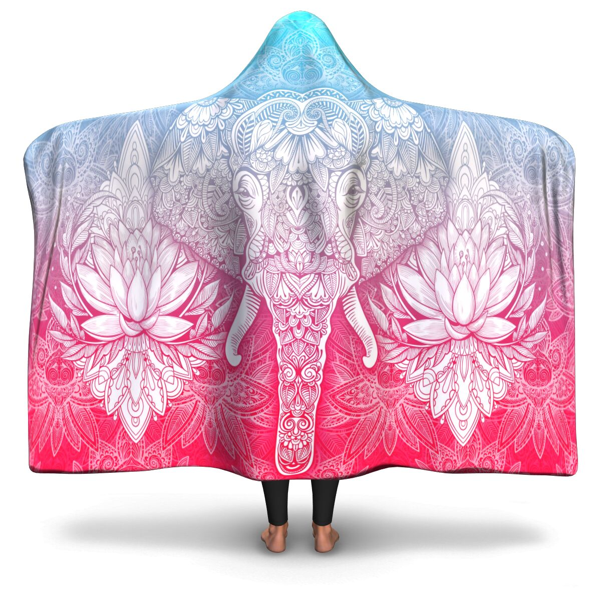 Blue & Pink Mandala Elephant Hooded Blanket