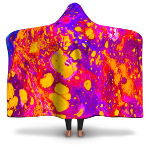 Yellow & Purple Acid Paint Hooded Blanket