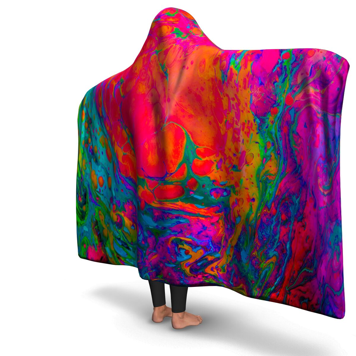 Blue & Organge Acid Paint Hooded Blanket