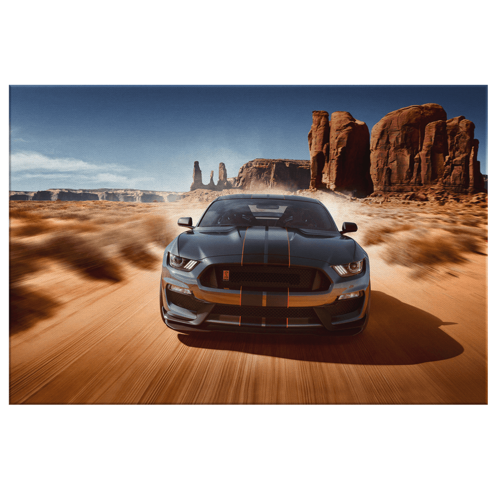 Ford Mustang Shelby GT350 Black Car Framed Canvas Photo Print