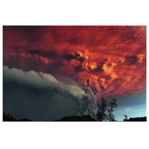Red Volcano Smoke Clouds Epic Nature Photo Print Framed Canvas Wall Decor