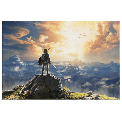 The Legend Of Zelda Breath Of The Wild Link Framed Canvas Wall Art Print | Gamer Fan Art Gift for Game Room