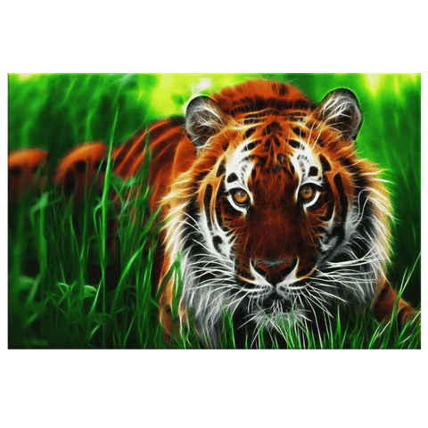 Tiger in Green Grass Framed Canvas Wall Art Print | Tiger Painting Wall Hanging Decor 3D