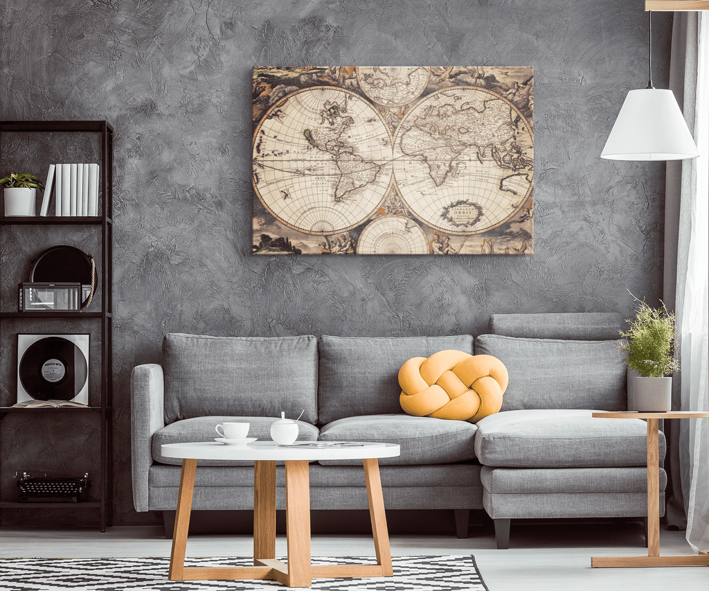 Vintage Ancient Map Nautical Decor World Map from 1600's on Framed Canvas Wall Art Print