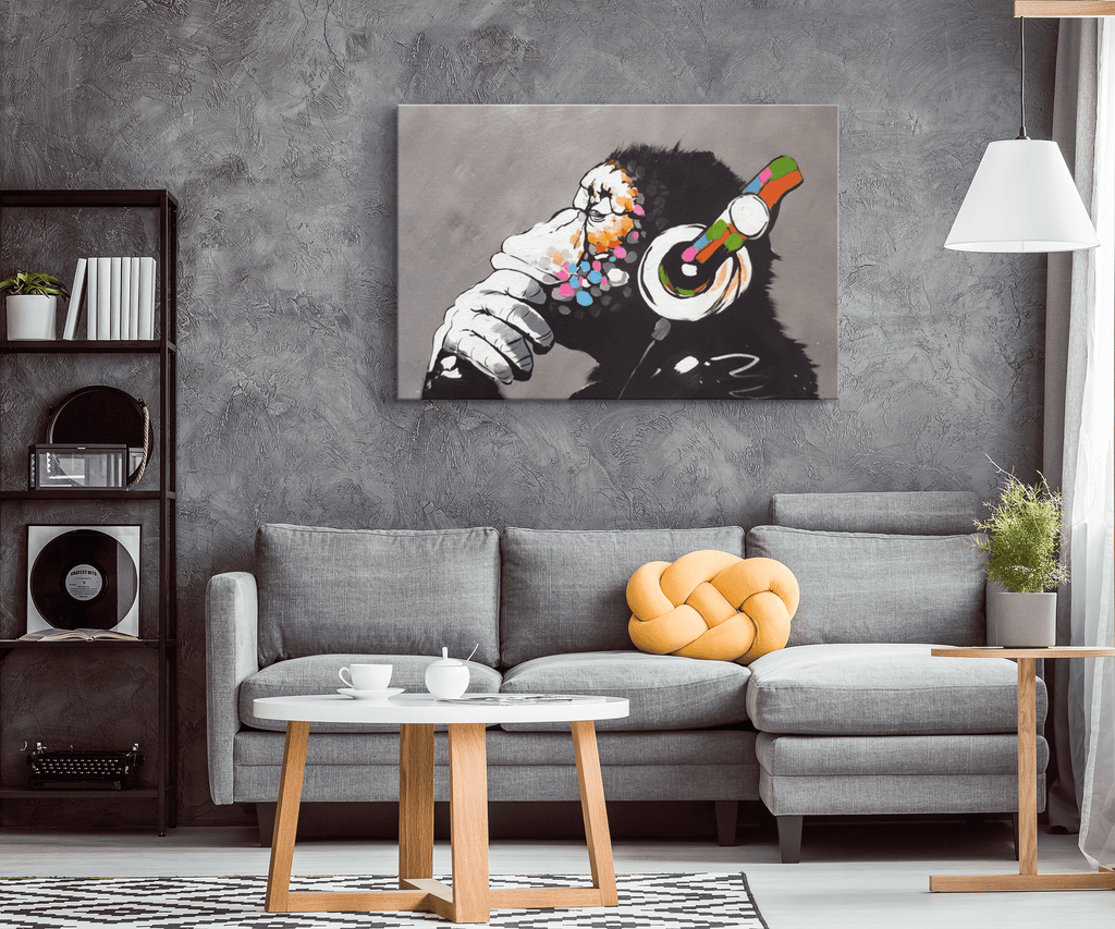 Banksy DJ Chimp Art Print | Headphones Monkey Ape Painting on Framed Canvas Wall Hanging | Contemporary Art