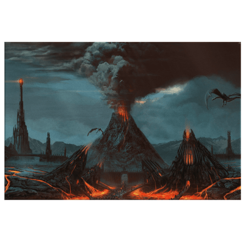 Vintage Mordor Painting LOTR Art Print on framed Canvas Wall Hanging | Dark Nazgul Saruman Fan Art