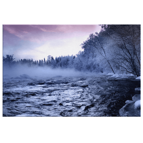 Fog Over The Cold Mountain River In Winter Season Framed Canvas Photo Print