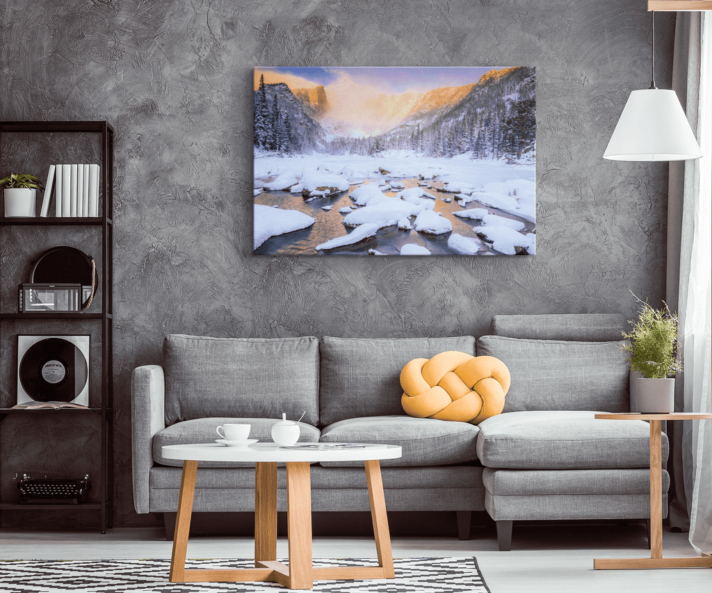 Melting Snow Mountain Valley at Sunrise Framed Canvas Photo Print