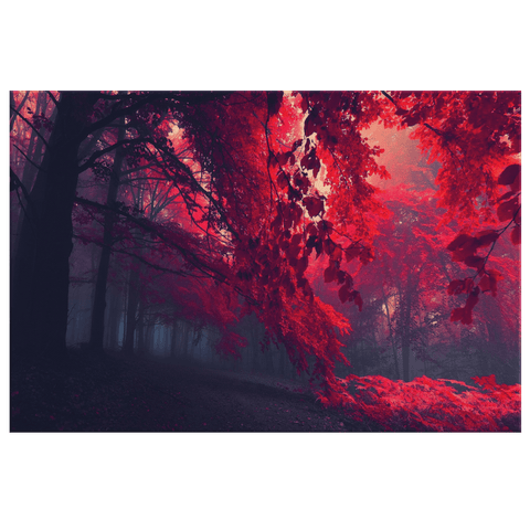 Red Forest Mystic Trees Wall Decor Canvas Print