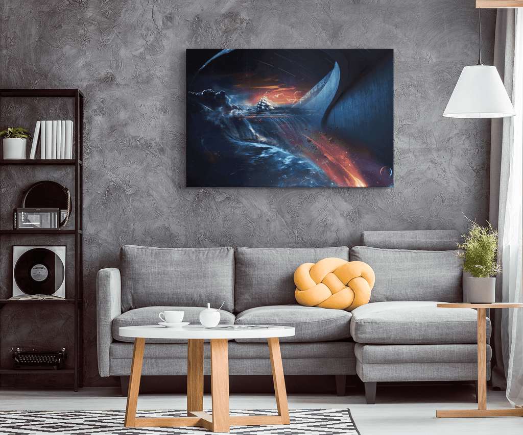 Sci Fi Abstract Art Alien World Space & Planets Framed Canvas Print Wall Art