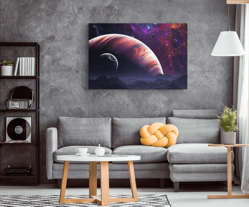 Planets in Space Cosmic Solar System Nebula Deep Space Travel Galaxy Framed Canvas Digital Art Print Wall Hanging
