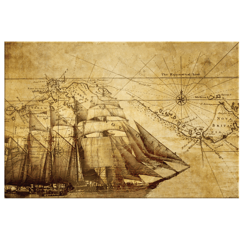 Vintage Sailing Old Map Framed Canvas Wall Art