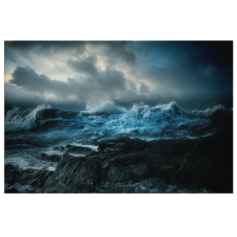 Crashing Ocean Waves on Rocks Photo Print on Framed Canvas Wall Art | Nature Storm Sea