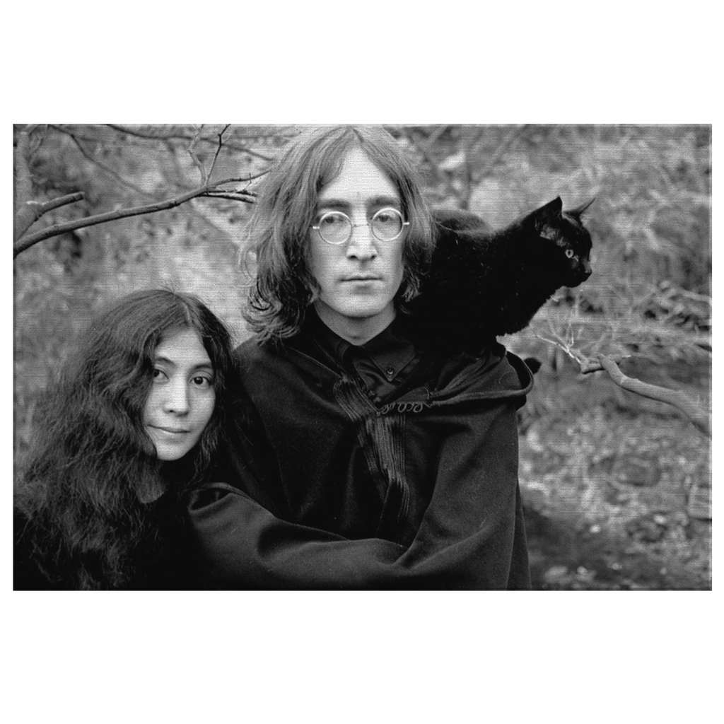 John Lennon and Yoko Ono Black and White Photo Print on Framed Canvas Wall Art Hanging | 60's History The Beatles Home Decor